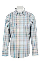 Wrangler Men's L/S White, Grey, and Turquoise Plaid Western Snap Shirt