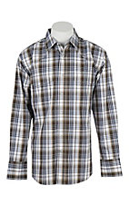 Wrangler Men's L/S Khaki, Grey, and White Plaid Western Snap Shirt - Big & Tall