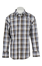 Wrangler Men's L/S Khaki, Grey, and White Plaid Western Snap Shirt