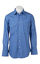 Wrangler Men's Blue and White Plaid L/S Western Snap Shirt - Big & Tall