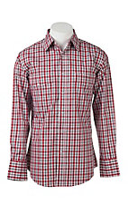 Wrangler Men's Red and White Plaid L/S Western Snap Shirt - Big & Tall