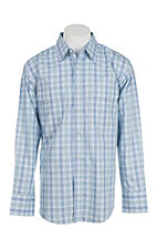 George Strait by Wrangler Men's Blue and Green Plaid L/S Western Snap Shirt