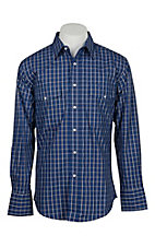 Wrangler Men's Blue and Black Window Pane Wrinkle Resist L/S Western Snap Shirt