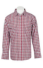Wrangler Men's Red and White Plaid Wrinkle Resist L/S Western Snap Shirt
