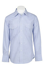 Wrangler Men's Blue, Black and White Checkered Wrinkle Resist L/S Western Snap Shirt