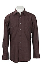 Wrangler Men's Burgundy Checker Print Wrinkle Resist L/S Western Snap Shirt