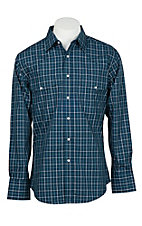 Wrangler Men's Navy and White Window Pane Wrinkle Resist L/S Western Snap Shirt