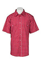 Wrangler Men's Red and White Plaid Wrinkle Resist S/S Western Snap Shirt