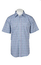 Wrangler Men's Blue, Purple and White Checker Print Wrinkle Resist S/S Western Snap Shirt - Big & Tall