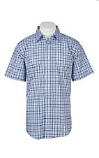 Wrangler Men's Blue, Purple and White Checker Print Wrinkle Resist S/S Western Snap Shirt