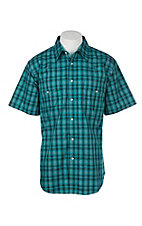 Wrangler Men's Teal & Black Plaid Wrinkle Resist S/S Western Snap Shirt