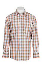 Wrangler Men's Orange and White Plaid Wrinkle Resist L/S Western Snap Shirt