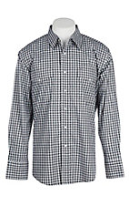 Wrangler Men's Black and Grey Checkered Print Wrinkle Resist L/S Western Snap Shirt