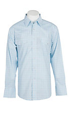 Wrangler Men's Light Blue and Green Checkered Print Wrinkle Resist L/S Western Snap Shirt