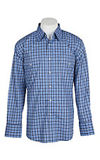 Wrangler Men's Blue Plaid Wrinkle Resist L/S Western Snap Shirt - Big & Tall