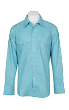Wrangler Men's Light Blue Checker Print Wrinkle Resist L/S Western Snap Shirt