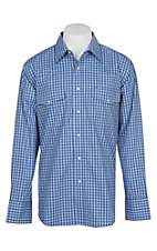 Wrangler Men's Blue Checker Print Wrinkle Resist L/S Western Snap Shirt