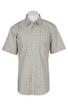 Wrangler Men's Brown and Beige Plaid Wrinkle Resist S/S Western Snap Shirt