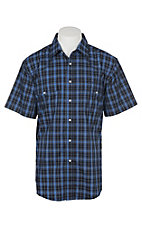 Wrangler Men's Blue and Navy Plaid Wrinkle Resistant Stretch S/S Snap Western Shirt