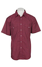 Wrangler Men's Maroon and Red Checker Print Wrinkle Resist S/S Western Snap Shirt