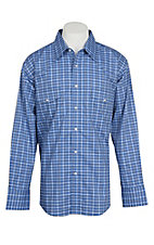 Wrangler Men's Blue, Tan, and White Plaid Wrinkle Resist L/S Western Snap Shirt