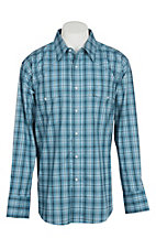 Wrangler Men's Blue Plaid Wrinkle Resist L/S Western Snap Shirt