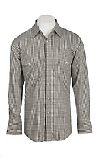 Wrangler Men's Black and Tan Wrinkle Resist L/S Western Snap Shirt
