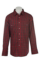Wrangler Men's Red Plaid Wrinkle Resist L/S Western Snap Shirt