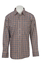 Wrangler Men's Brown Plaid Wrinkle Resist L/S Western Snap Shirt