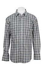 Wrangler Men's Grey Plaid Long Sleeve Western Shirt