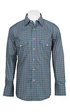 Wrangler Men's Teal Plaid Wrinkle Resist L/S Western Snap Shirt
