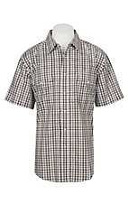 Wrangler Men's Brown Plaid Wrinkle Resist Short Sleeve Western Snap Shirt