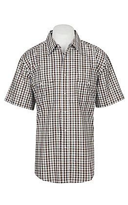 Wrangler Men's Brown Plaid Wrinkle Resist Short Sleeve Western Snap Shirt