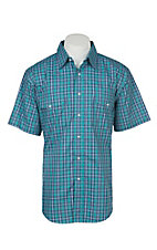 Wrangler Men's Teal Plaid Wrinkle Resist Short Sleeve Western Snap Shirt