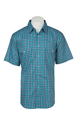 Wrangler Men's Teal Plaid Wrinkle Resist Short Sleeve Western Snap Shirt