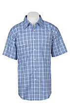 Wrangler Men's Light Blue Plaid Wrinkle Resist Short Sleeve Western Snap Shirt