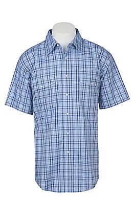 Wrangler Men's Light Blue Plaid Wrinkle Resist Short Sleeve Western Snap Shirt