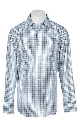 Wrangler Men's Green Plaid Wrinkle Resist Long Sleeve Western Snap Shirt