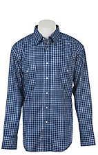 Wrangler Men's Navy Blue Plaid Wrinkle Resist L/S Western Snap Shirt - Big & Tall