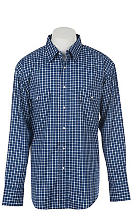 Wrangler Men's Navy Blue Plaid Wrinkle Resist Long Sleeve Western Snap Shirt - Big & Tall