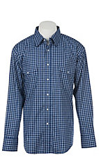 Wrangler Men's Navy Blue Plaid Wrinkle Resist L/S Western Snap Shirt