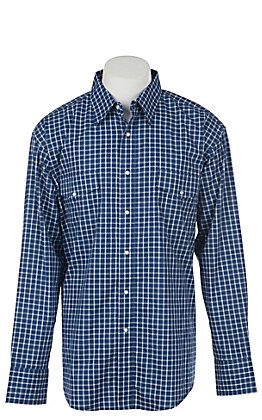 Wrangler Men's Navy Blue Plaid Wrinkle Resist Long Sleeve Western Snap Shirt