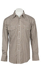 Wrangler Men's Brown Plaid Wrinkle Resist Long Sleeve Western Snap Shirt - Big & Tall