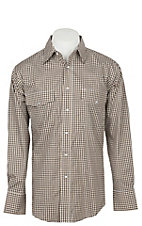 Wrangler Men's Brown Plaid Wrinkle Resist Long Sleeve Western Snap Shirt