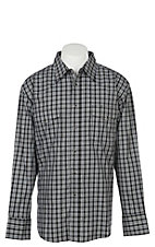 Wrangler Men's Black Plaid Wrinkle Resist Long Sleeve Western Snap Shirt