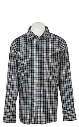 Wrangler Men's Black Plaid Wrinkle Resist Long Sleeve Western Snap Shirt