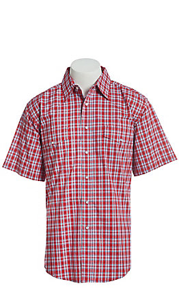 Wrangler Men's Red Plaid Plaid Wrinkle Resist Short Sleeve Western Snap Shirt