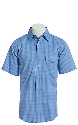 Wrangler Men's Blue Plaid Wrinkle Resist Short Sleeve Western Snap Shirt