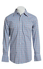 Wrangler Men's Blue, Red And White Plaid Wrinkle Resist Long Sleeve Western Snap Shirt