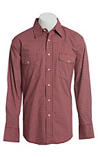 Wrangler Men's Red Plaid Wrinkle Resist Long Sleeve Western Snap Shirt
